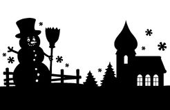 Snowman silhouette theme image 2 Royalty Free Stock Images