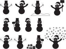 Snowman silhouettes Stock Photos