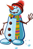 Snowman with silly smile Stock Photo