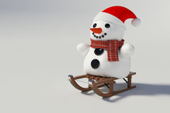 Snowman sitting on snow sleds. On withe background Stock Image