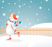 Snowman on skates Royalty Free Stock Photography
