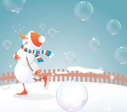 Snowman on skates Stock Photo