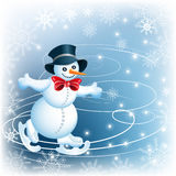 Snowman skates. In cylinder hat and red bow Royalty Free Stock Images