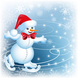 Snowman skates. In Santa Claus hat and red bow Royalty Free Stock Photography