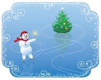 Snowman skating Stock Photo