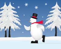 Snowman skating on frozen pond. As snow falls Royalty Free Stock Image