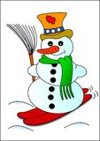 Snowman and ski Royalty Free Stock Photo