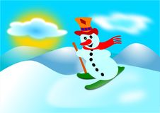 Snowman and ski Stock Photos