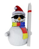 Snowman with ski Stock Photo