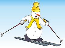 Snowman and ski Stock Images