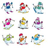 Snowman skier. Set vector color images of snowman on skis Stock Photo