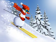 Snowman skier extreme downhill from the mountain. Winter Holidays Christmas and New Year illustrations. Stock Photos