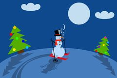 Snowman skier vector illustration