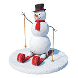 Snowman skier. The snowman was made in 3d and render at a rate of 6000x6000 royalty free illustration
