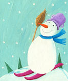 Snowman skiing Royalty Free Stock Photo