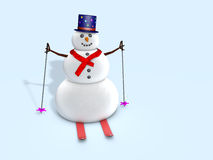 Snowman skiing Royalty Free Stock Photography