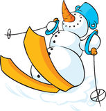 Snowman skiing in the Snow - Funny Vector Royalty Free Stock Photo