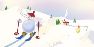 Snowman skiing Royalty Free Stock Image
