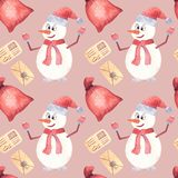 Snowman skiing watercolor art paint Christmas. vector illustration