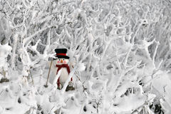 Snowman skiing in winter landscape royalty free stock images