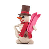 Snowman with skis Royalty Free Stock Photos