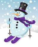 Snowman on skis. Snowman in a hat, scarf and ski Stock Photography