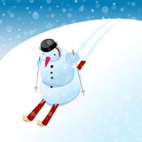 Snowman on skis. Cartoon illustration Royalty Free Stock Images