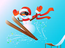 Snowman on skis Stock Photos
