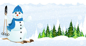 Snowman on skis Stock Images