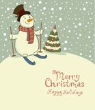 The snowman on skis, cozy retro Christmas card Stock Photography