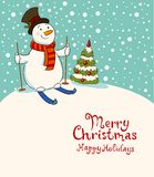 The snowman on skis, cozy retro Christmas card Stock Image