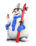 Snowman with skis in hand and bucket on head Royalty Free Stock Photography
