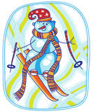 Snowman skis Stock Image