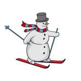 Snowman on skis rolls Stock Photo