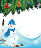 Snowman on Skis Royalty Free Stock Image