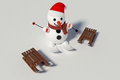 Snowman, skis and two wooden sleds with him Royalty Free Stock Photos