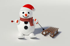 Snowman, skis and wooden sleds with him Stock Photography