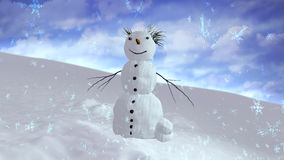 Snowman sky center Royalty Free Stock Photo