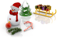 Snowman, sled, and fir. On white background Royalty Free Stock Photo