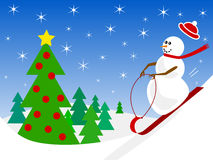 Snowman Sledding Stock Image