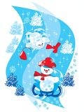 Snowman on Sledge Royalty Free Stock Photos