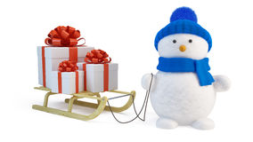 Snowman and sledge with gifts Royalty Free Stock Photos