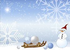 Snowman and sleigh Royalty Free Stock Photo
