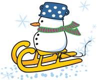 Snowman on sleigh. Vector illustration of an snowman on sleigh Royalty Free Stock Image