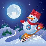 The snowman slides on a skateboard with the mountain. Vector illustration of cartoon snowman on skateboard rolls down the mountain Stock Image