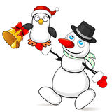 Snowman with small penguin Stock Images