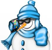 Snowman with smartphones. Snowman with sunglasses blacks and smartphones Stock Photo