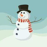 Snowman smile cartoon style with hat. Graphic Stock Image