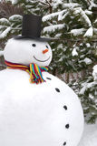 Snowman smiling. Big, traditional, happy snowman among pine trees in winter Stock Image