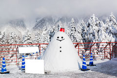 Snowman smiling with landscape in winter. Snowfall Royalty Free Stock Image
